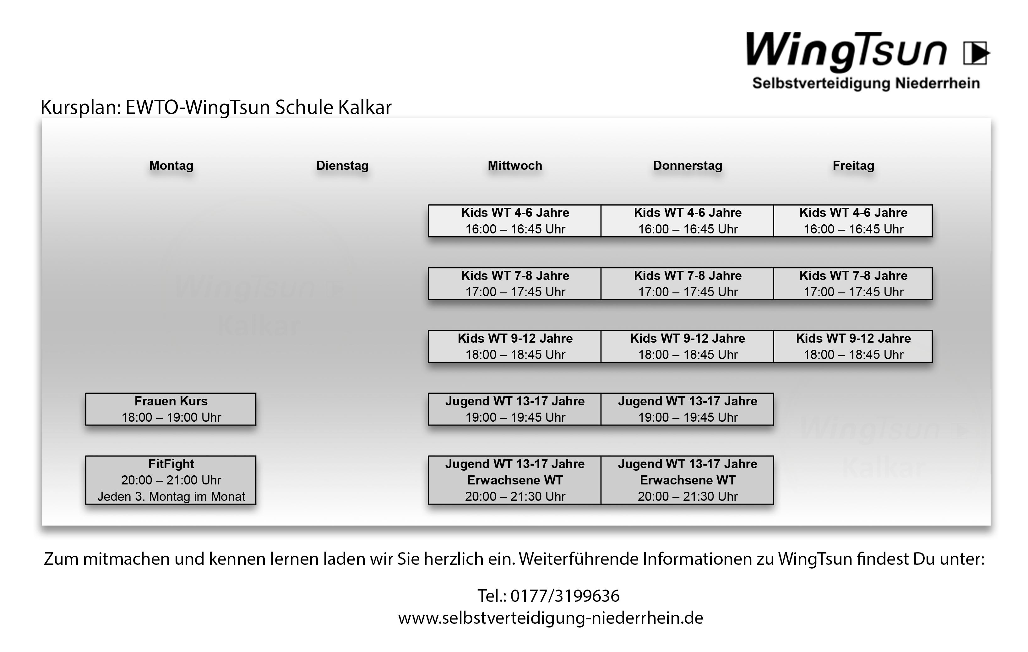 Neue Kurszeiten in der WingTsun Schule Kalkar ab dem 28. August 2019